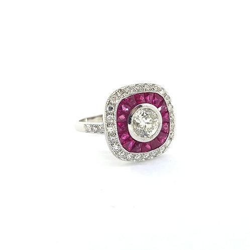 Ruby and diamond calibre set ring CD0.91Cts
