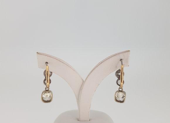 Cushion cut diamond drop earrings