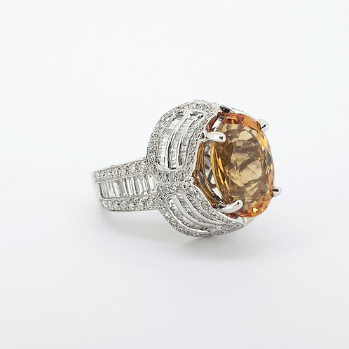 Brazilian topaz and diamond cluster ring