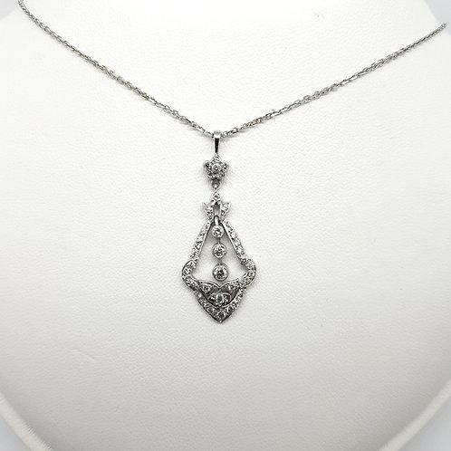 Art deco style diamond pendant est 0.60Cts