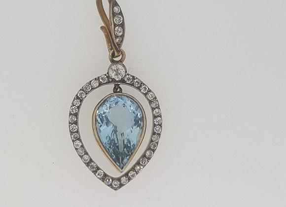 Antique aquamarine and diamond pendant.