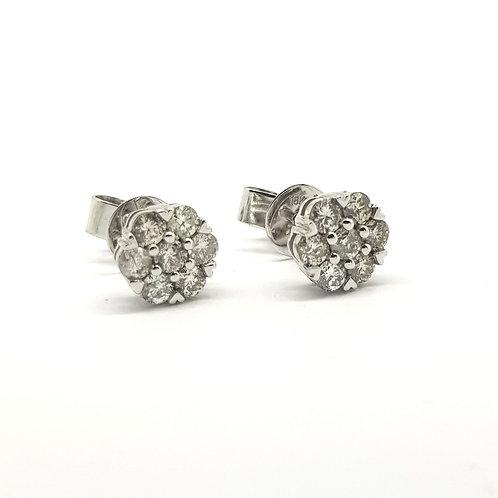 Diamond cluster stud earrings TDW0.71Cts