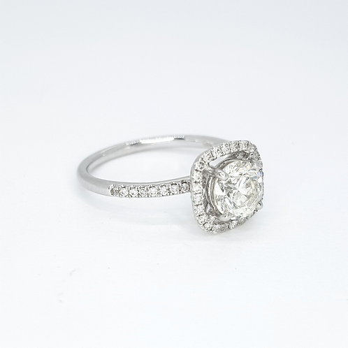 Fixed halo diamond ring D1.0CTS X 0.35CTS