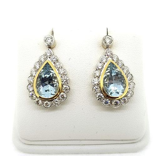 Aquamarine and diamond cluster earrings Aq4.0Cts D2.0Cts