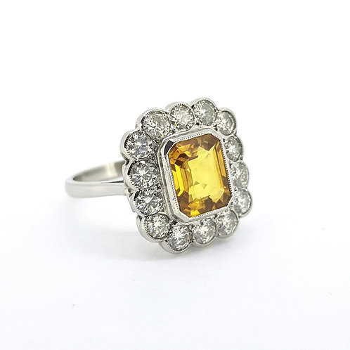 Yellow sapphire and diamond cluster ring Ys3.0Cts D1.45Cts platinum