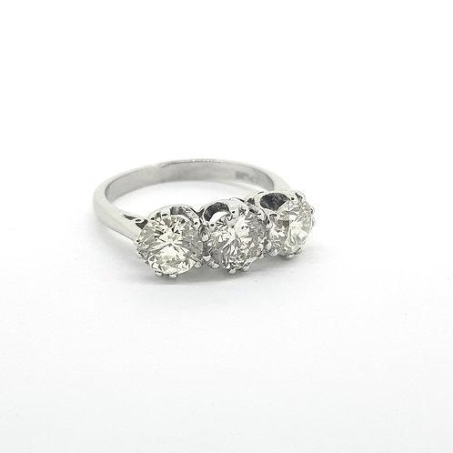 Platinum and diamond three stone TDW2.15Cts