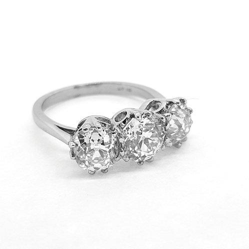 Platinum diamond three stone old cuts d3.52cts H colour si1
