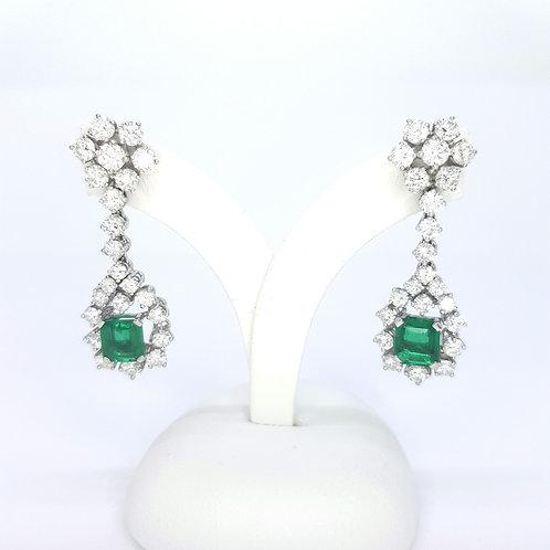 Columbian emerald and diamond earrings.