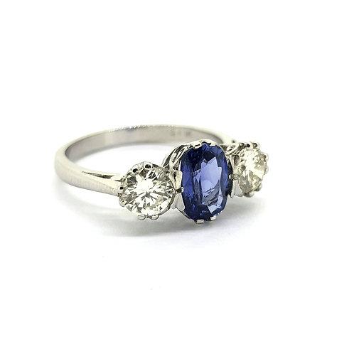 Sapphire and diamond three stone S1.40Cts D0.95 platinum
