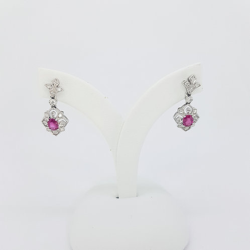 Ruby and diamond Deco style drop earrings