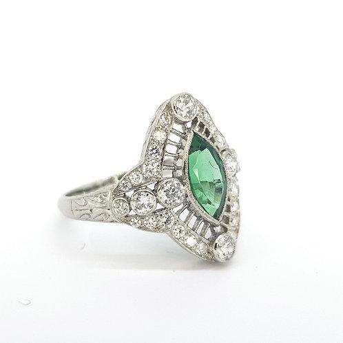 Columbian emerald and diamond art deco ring.