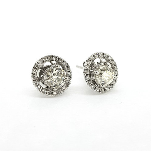 Diamond halo studs removable 1.38Cts x 0.61Cts
