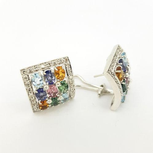 Traffic light  multi-gym diamond earrings