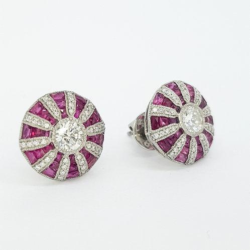 Ruby and diamond target earrings Platinum