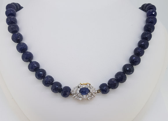 Sapphire bead necklace 442cts with a sapphire and diamond clasp