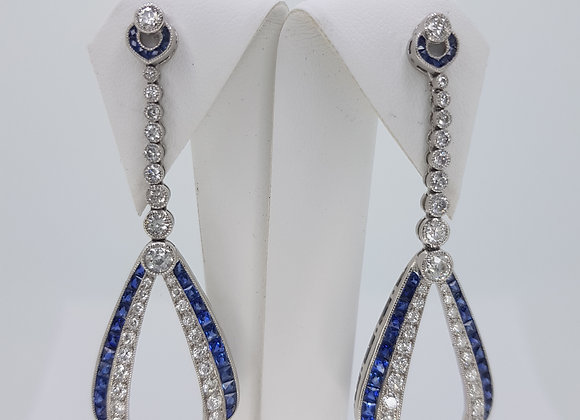 Sapphire and diamond platinum earrings
