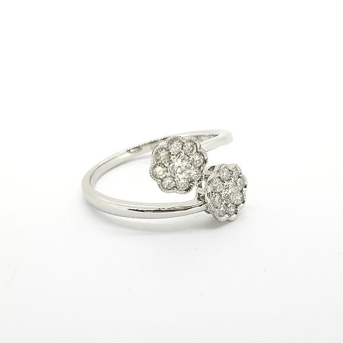 18Ct Double diamond ring D0.40Cts