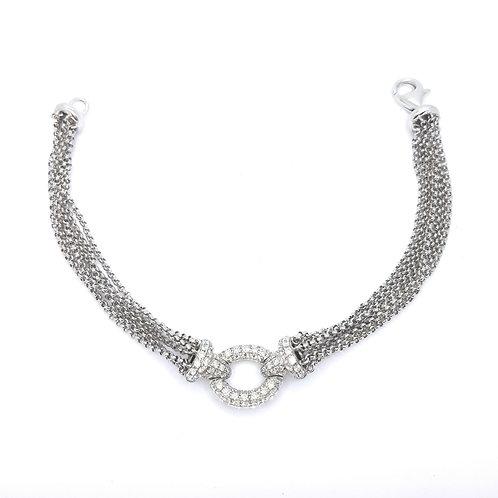 14.86gms 18ct and diamond cluster bracelet d0.90cts