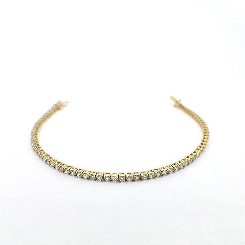 Yellow gold diamond line bracelet 3.0Cts