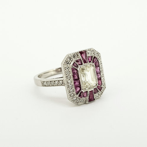 Ruby diamond calibre set platinum ring.