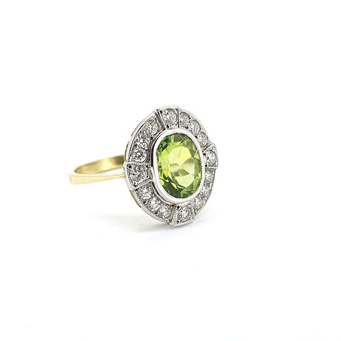 Peridot and diamond cluster ring P2.0Cts D0.50Cts