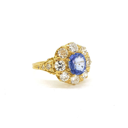 Sapphire and diamond cluster ring S1.60Cts D1.40Cts