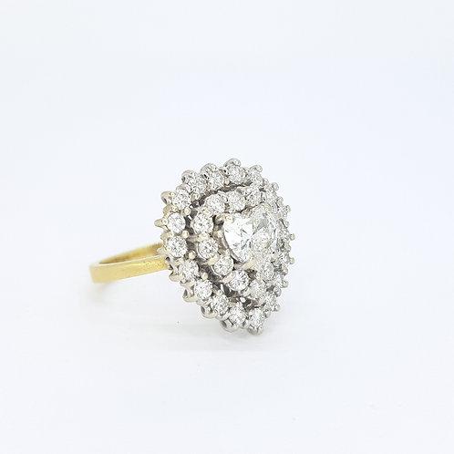 Diamond cluster heart ring