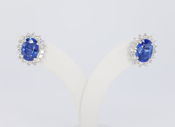 Sapphire and diamond cluster earrings s2.46cts d0.78cts