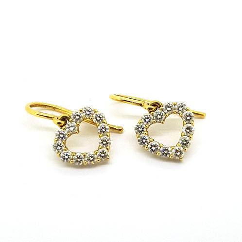 Diamond heart earrings est.0.50Cts