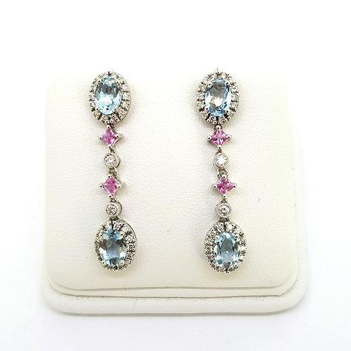 Pink sapphire and Aquamarine diamond drop earrings