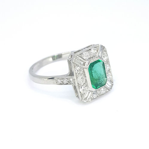 Platinum Emerald and diamond  ring E0.80CTS D0.55CTS