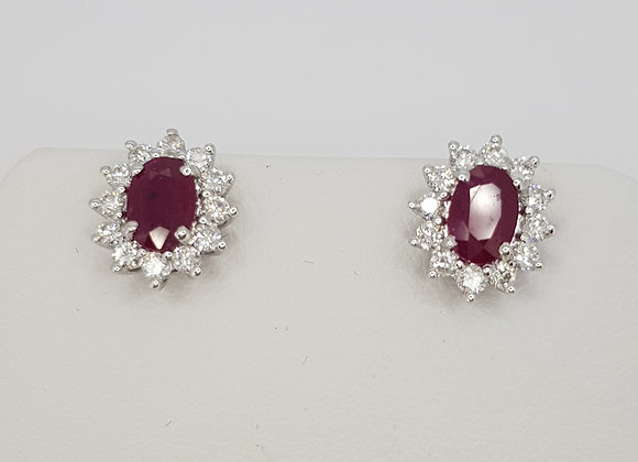 Ruby and diamond cluster earrings r1.88cts d0.51cts