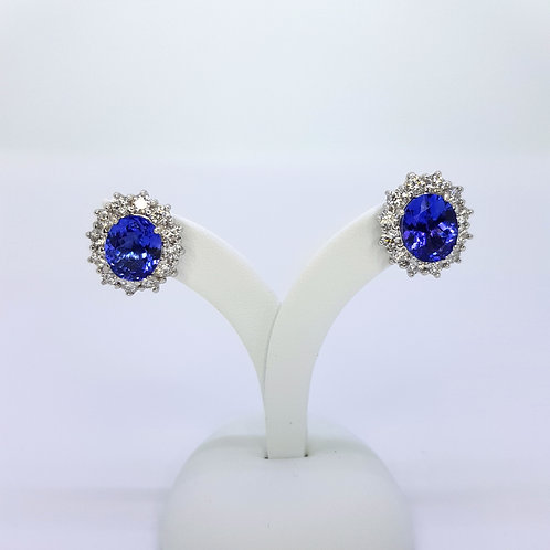 Tanzanite and diamond cluster earrings TZ5.20CTS D1.75CTS