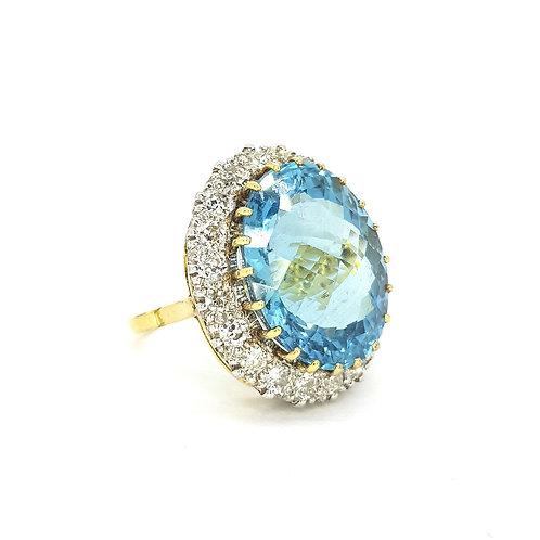 Aquamarine and diamond ring Aq23.85CTS D2.20CTS
