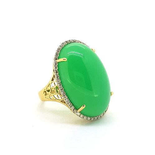 14ct chalcedony and diamond ring