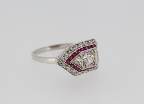 Calibre ruby and diamond ring.