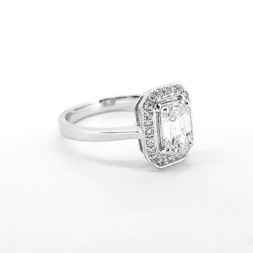 Emerald cut diamond cluster ring CS0.87Cts
