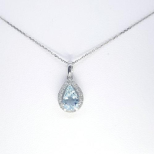 Aquamarine and diamond pendant AQ1.13CTS D0.21CTS 9ct