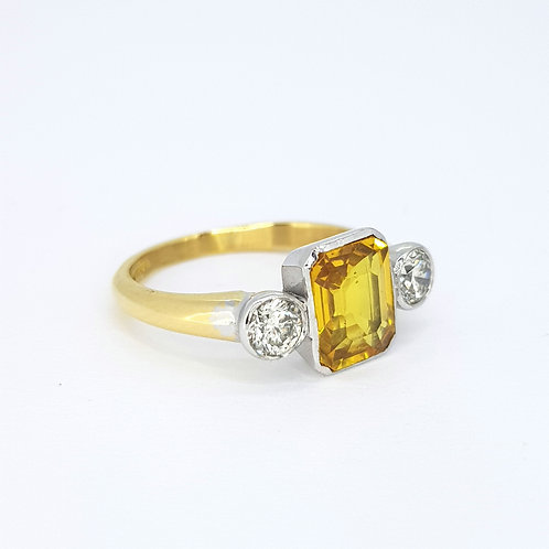 Yellow sapphire and diamond ring YS2.25CTS 0.50CTS