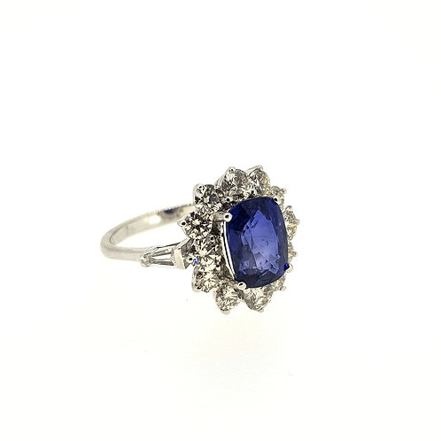 Sapphire and diamond cluster ring S2.75Cts D1.35Cts