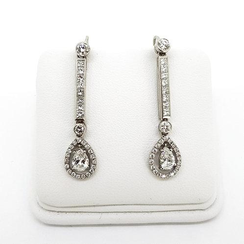 Vintage Diamond long drop earrings in 18 carat white gold