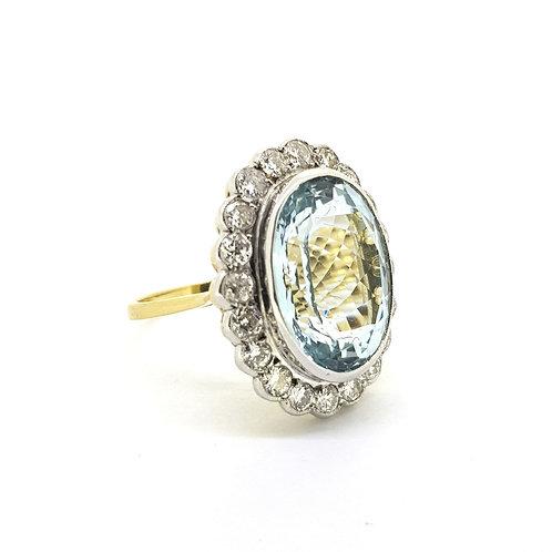 Aquamarine and Diamond cluster ring Aq8.10Cts D1 20Cts 18ct