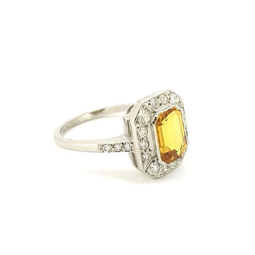Yellow sapphire and diamond cluster ring YS1.30CTS D0.55CTS Platinum
