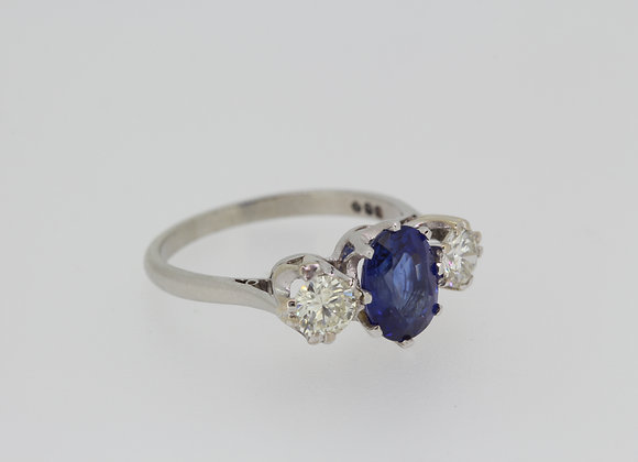 Platinum and Sapphire and diamond three stone ring a1.71cts d.60cts