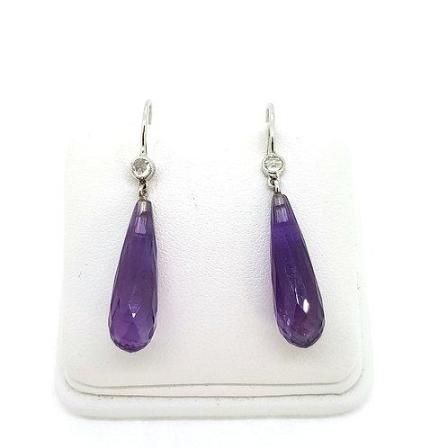 Amethyst and diamond drop earrings 18Ct