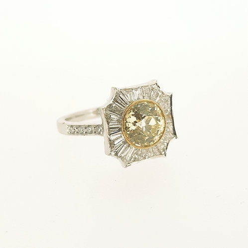 Fancy yellow diamond and taperd baguette platinum ring YD2.03CTS  BD1.06CTSX0.12