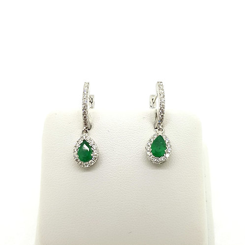 Emerald and diamond cluster drop earrings E0.76Cts D0.45Cts