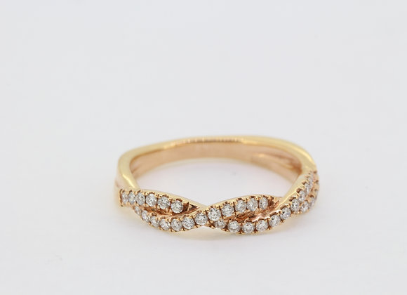 Rose gold and diamond crossover ring d.38cts