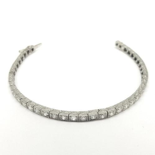 Edwardian platinum diamond line bracelet est5.0cts g colour vs