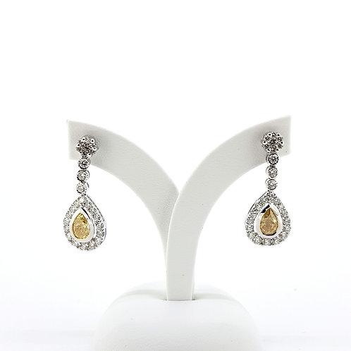 GIA Certified fancy yellow diamond earrings